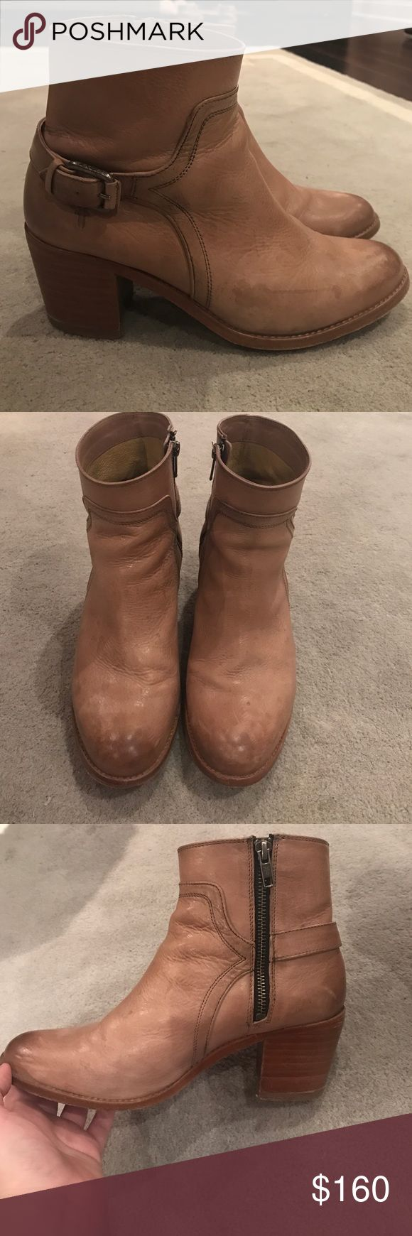 Frye booties with buckle Frye booties in a sand color. In very good condition and perfect for spring. Frye Shoes Ankle Boots & Booties