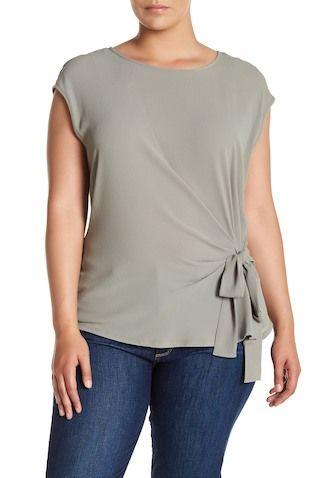 359c637d03a307 Bow Crew Neck Tee (Plus Size)   StitchFix   Tie front blouse, Plus ...