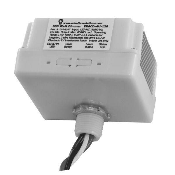The ER6CD is a phase adaptive line voltage lighting controller that automatically provides reverse or forward phase dimming based on the connected load type. The dimmer makes upgrading to a hybrid lighting system easy, by offering line voltage dimming for tungsten, two-wire fluorescent, line-voltage LED, and electronic low-voltage transformer loads.