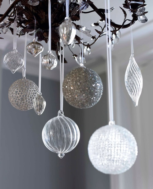Love this! Ornaments hung from light fixture at different heights!