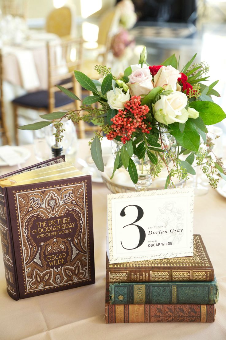 Books as table centrepieces