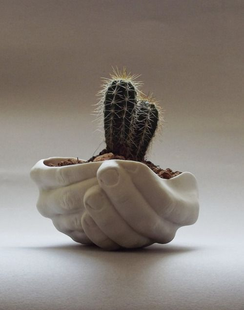 the cuttest one! A ceramic hands pot for your little succulets and small plants.