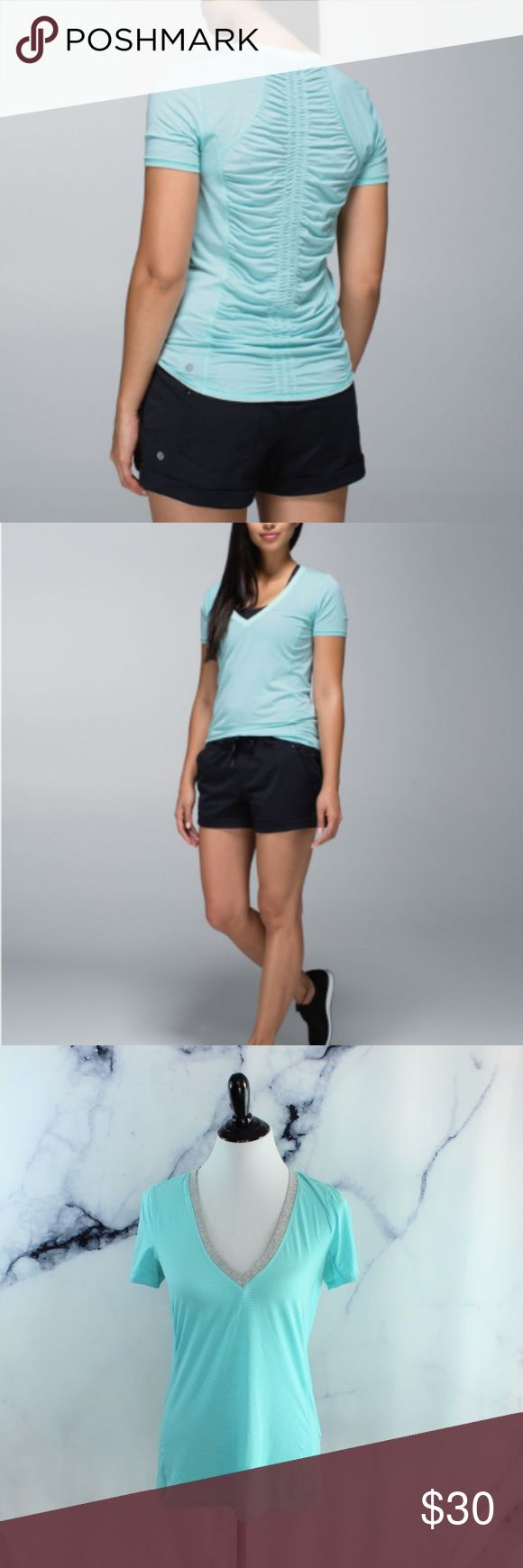 Lululemon Runner Up Short Sleeve Aquamarine 8 CONDITION: used STRETCH: yes, can easily and comfortably fit a 10 FLAWS: slight yellowing in the underarm on the INNER shirt. Not noticeable when worn. Feel free to send me an offer! Or just bundle your likes for me and I'[ll send YOU an offer with an exclusive discount! lululemon athletica Tops Tees - Short Sleeve