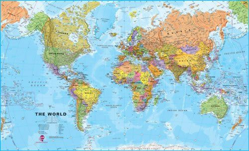 Huge World Wall Map (political) - without flags Laminated with hanging bars