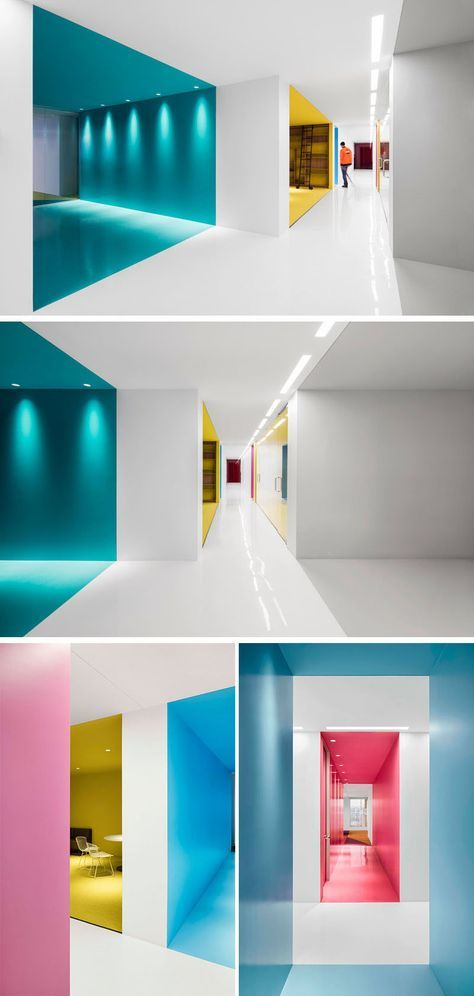 This contemporary and open-concept office design is mostly white, however bold pops of color have been used to define various areas throughout the interior.
