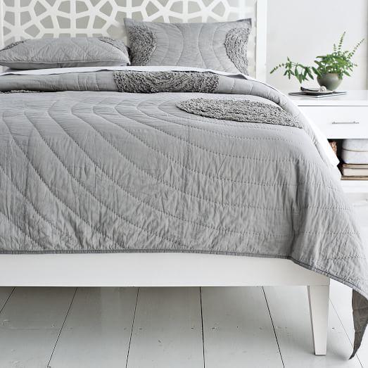 Narrow Leg Wood Bed Frame White West Elm Sierra