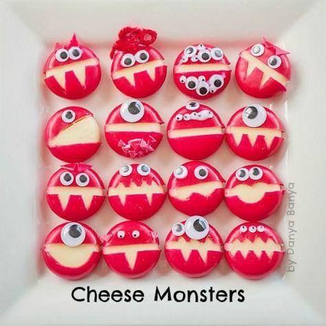 Cheese Monster mit Babybell und klebe Augen für ein cooles Kindergeburtstag Fingerfood. Noch mehr Rezepte gibt es auf www.Spaaz.de