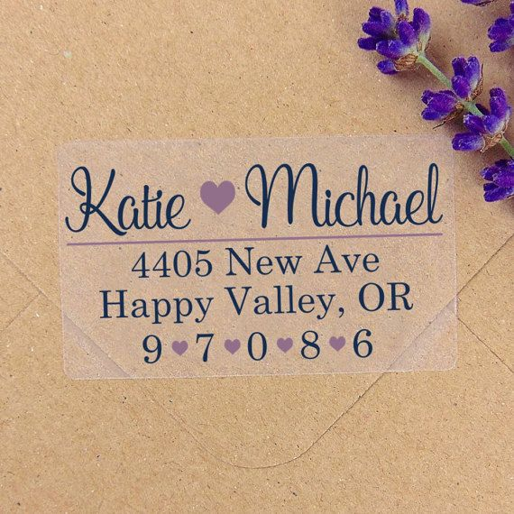 Custom Heart Transparent Labels Set Wedding by YourWeddingProject