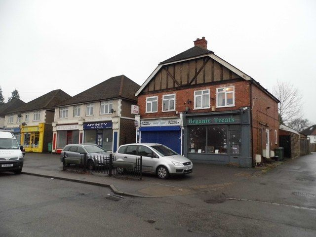 Shops on Nutfield Road, Merstham 2016. 'Organic Treats' was once a wonderful pocket money shop, with sweets in the front and toys and knick knacks in the back!