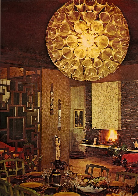 1970s Architectural Digest. I know how to make that lamp using cups, string lights and some glue!