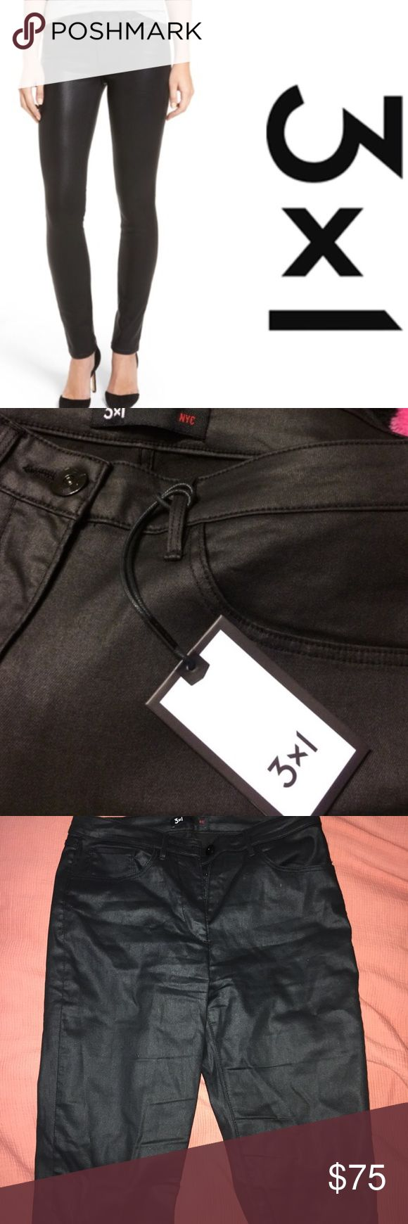 """3x1 wax coated black denim skinny jeans Worn once. Felt they were slightly large and I'm a true 28 (they weren't super skinny like I wanted them but fit fine if you wanted them more of a straight leg)! Size 28 measures 14.5"""" waist, 11"""" rise, 30"""" inseam. Buttons on opposite side as normal women's denim. 3x1 Jeans Skinny"""