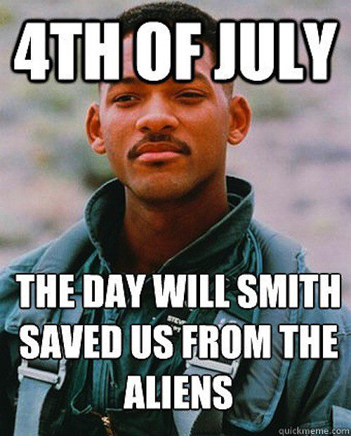 Raise your hand if you're watching Independence Day to celebrate Fourth of July. Will Smith would be proud!