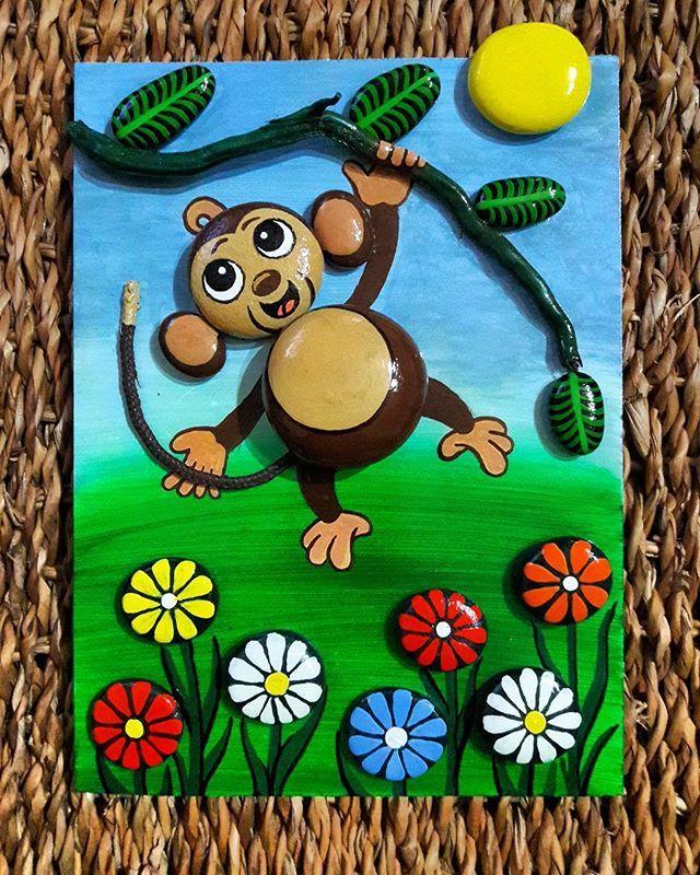 Taş boyama pano 18x25 #taşboyamasanatı #stonepainting #stone #stones #stonepaintingart #monkey #monkeys