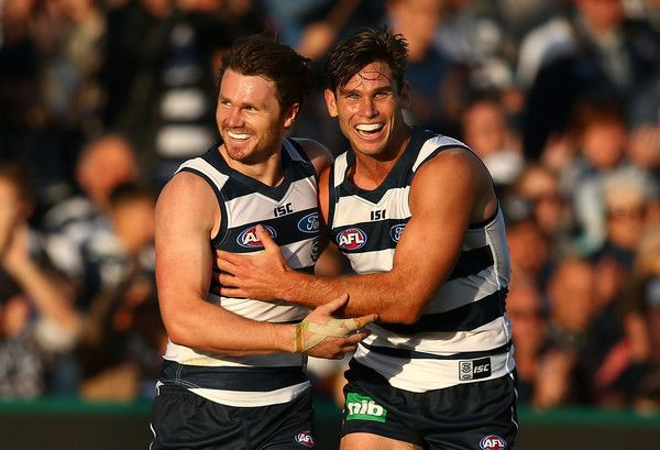 AFL Rd 3 - Geelong v Brisbane - Dangerfield of the Geelong Cats celebrates after kicking his first goal at KP with Tomahawk