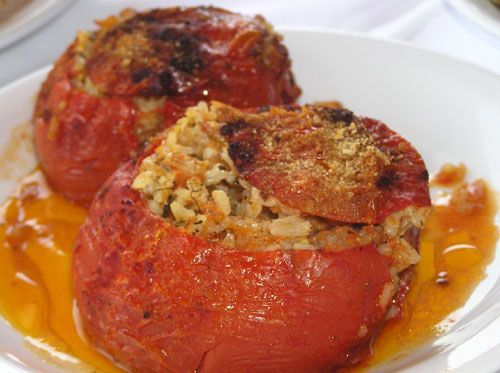 greek recipes - gemista - whole site is good!! Sandy's modification: 1-1/2 c. rice, more salt, dill and flat leaf parsley next time, 3/4 c water, oven at 400 for 60-75 mins.  Baste occasionally to moisten.