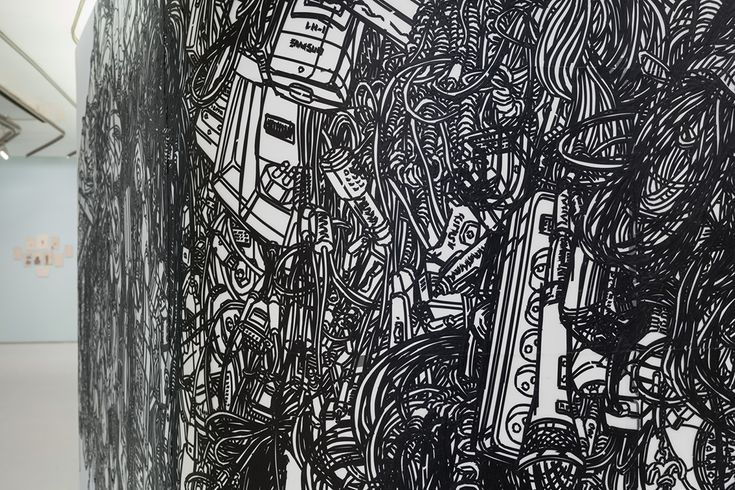 Heeseop Yoon - Detail of Still life with Electric Cords, Black masking tape on Mylar, Dimension Vary,2013