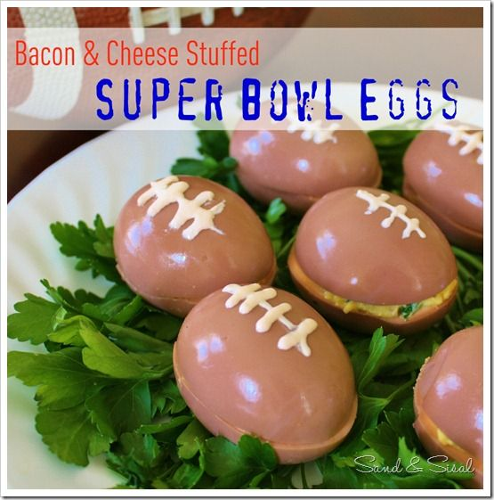 Bacon & Cheese Stuffed Football Eggs! Perfect for Superbowl Sunday!