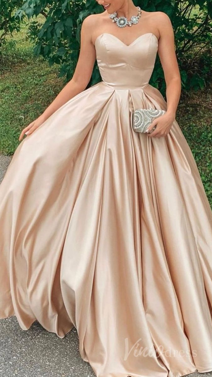 Simple Strapless Champagne Prom Dresses With Pockets Fd1553 Champagne Prom Dress Prom Dresses Prom Dresses With Pockets [ 1200 x 675 Pixel ]