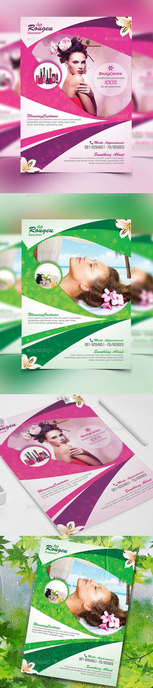 Beauty Salon Spa - Flyer Template PSD #design Download: http://graphicriver.net/item/beauty-salon-spa-flyer/13931580?ref=ksioks