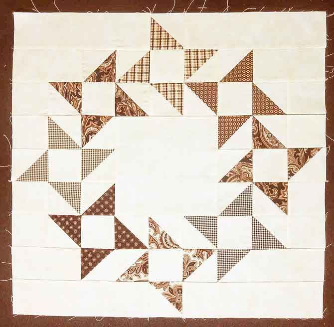 This will make a nice blue and white quilt Friendship Star Wreath Block