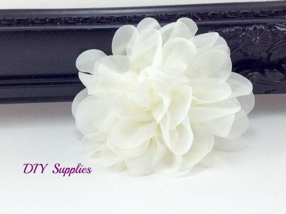 Ivory chiffon scalloped flower - diy headband - fabric flowers - wholesale flowers - hair bow supplies - silk flowers - flower wholesale