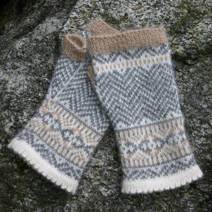 "My ""Chevron Fingerless Mittens"", sized for the average adult female hand, with fitted cuffs and gusseted thumbs. Knit in luxurious Dale of Norway Royal Alpakka. Use any three shades your heart des..."
