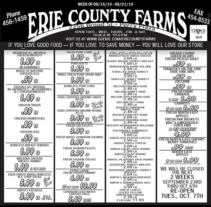 Erie County Farms Weekly Ad | Erie County Farms | Pinterest