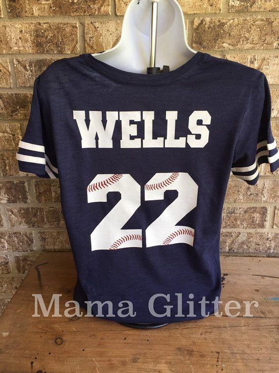Blanco béisbol cordones t-shirt camisa de la mamá por MamaGlitter