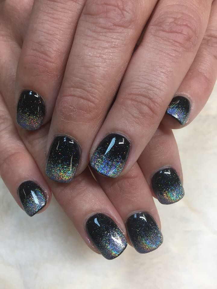 Nail Powder: Black And Rainbow Chrome Ombré SNS Dip Nails