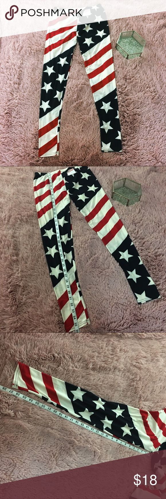American Flag Print Leggings Patriotic USA SOFT Brand: the flag shop  Color(s): off white, red, blue  Size: medium  Zipper: no  Stretch: yes  Fabric content: 95% polyester 5% spandex (SO SOFT) Condition: new with tags  Defects: none   💥First photo is edited, may not depict accurate color. Please see additional photos. 💥  Measurements😘 Length: approximately 35.5 inches  Waist: approximately 11.5 inches  Inseam: approximately 27.3 inches   [note to seller: G1] ❤️ The Flag Shop Pants…