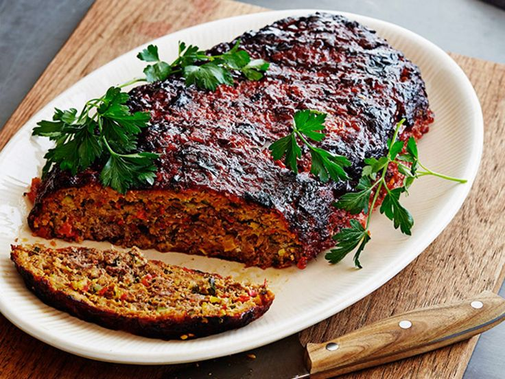 Roasted Vegetable Meatloaf with Balsamic Glaze recipe from Bobby Flay via Food Network