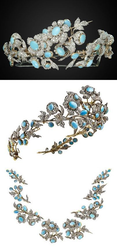 MELLERIO dits MELLER - In the 1860s, a technical handbook was produced to show, with the aid of an explanatory note and assembly diagrams, the different ways of transforming a diadem made up of different brooches into an assembled trailing corsage and bouquet.