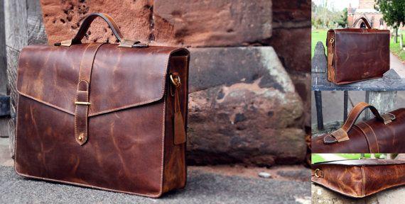Leder Rindsleder Arbeitstasche Lehrertasche von LuxuryLeatherLondon