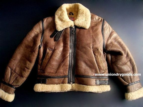 Vintage B3 Bomber Jacket Leather Shearling WW2 by uniondrygoods, $275.00