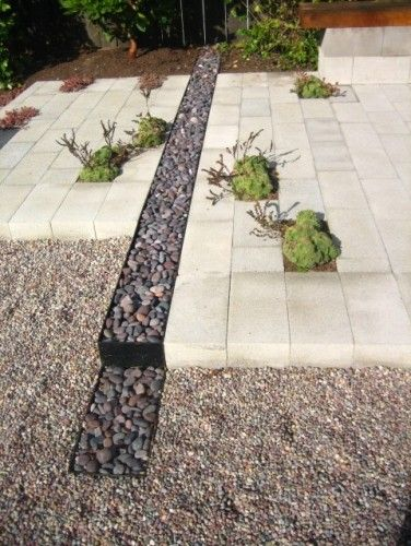 Creative use of cinderblock to make a concrete patio with planters and texture. Landscape by Terra Ferma Landscapes