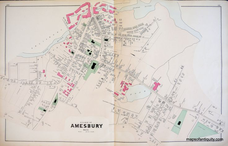 Village of Amesbury, Town of Amesbury, and Town of Merrimac, Massachusetts - Antique Maps and Charts – Original, Vintage, Rare Historical Antique Maps, Charts, Prints, Reproductions of Maps and Charts of Antiquity
