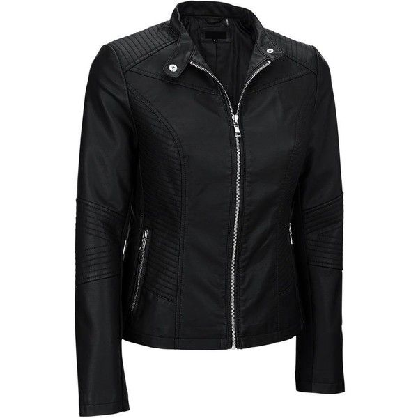e4acf3fa00f Black Rivet Womens Plus Size Moto Mock Collar Faux-Leather Jacket (130 PEN)