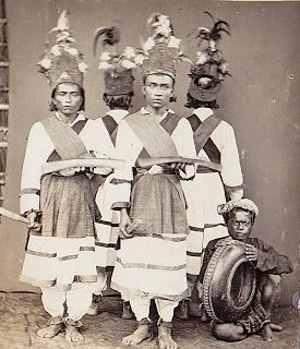 Dancers from Pasere Maloekoe, North Celebes  (c1910, Dutch Indies)  Photographer unknown