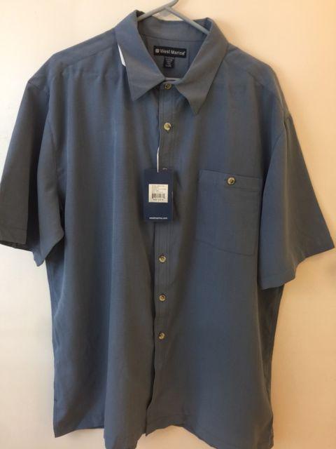 West Marine Mens 2X Short Sleeve Button Down Anchor Shirt Blue | eBay