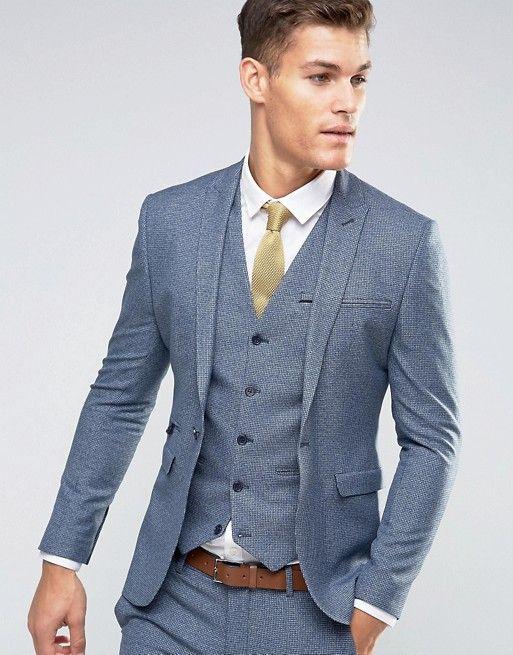 ASOS | ASOS WEDDING Super Skinny Suit Jacket in Navy Dogstooth