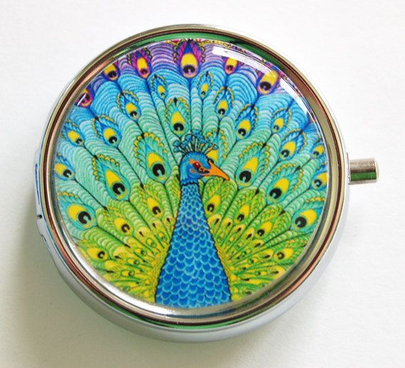 Peacock, Pill Box, Pill Case, Pill Container, Gift for her, Candy container, mint case (811) op Etsy, 9,29 €