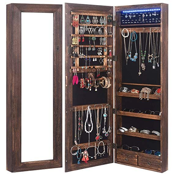 Amazon Com Rhf Solid Wood Rustic Jewelry Organizer Lockable Jewelry Armoires Large Jewelry Cabinet With Mirr Glass Jewelry Box Jewelry Armoire Jewelry Cabinet Over the door jewelry mirror