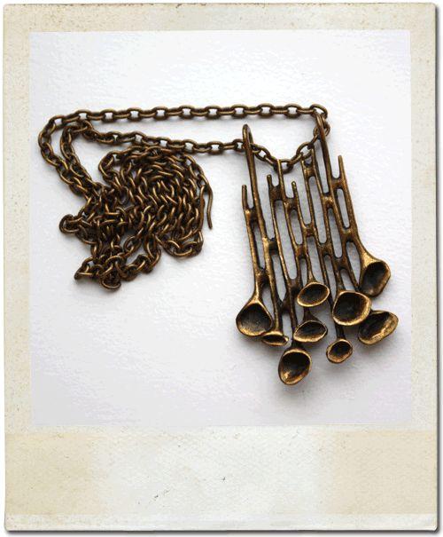 Hannu Ikonen bronze reindeer moss necklace