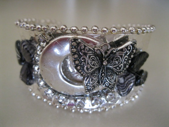OneofaKind Silver and Black Cuff Bracelet by brownnr86 on Etsy