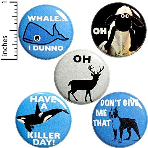 Animal Puns 5 Pack Buttons for Backpacks Pins or Magnets