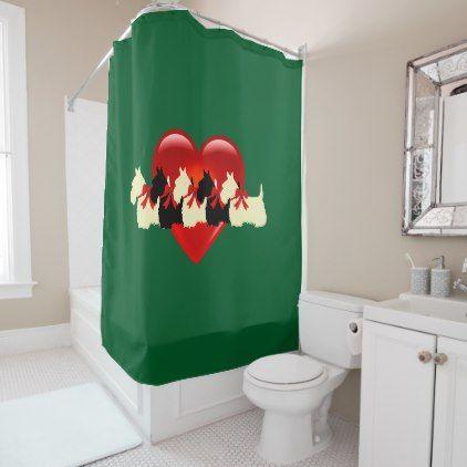 Scottish Terrier/red heart/kelly/Irish green Shower Curtain - white gifts elegant diy gift ideas