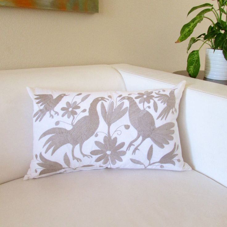"""Otomi pillow cover lumbar 23""""x14"""" gray embroidered Mexican Textile hand embroidered on white color cotton rustic fabric from Hidalgo by ArteDeMiTierraMX on Etsy"""