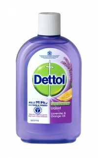 Dettol Disinfectant Liquid 500ml Lavender & Orange Oil Dettol Disinfectant kills 99.9% of bacteria Effective against germs that can cause illnesses Trusted by doctors to kill bacteria