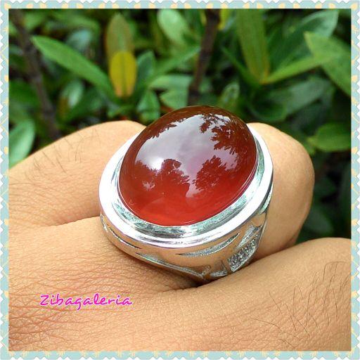 Cincin Permata Merah Maron Serat Awan | CN0056 | Ring Perak Hongkong Size 8