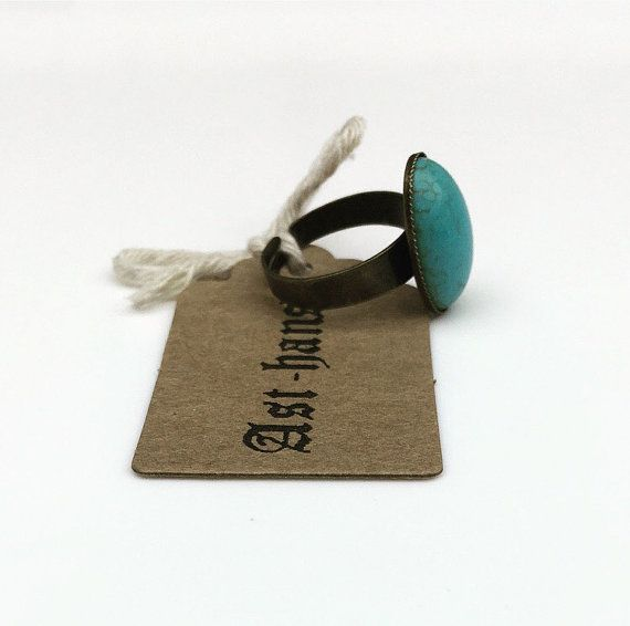 Turquoise Gemstone Ring - Antique Bronze Vintage Style Handmade Jewellery - Gift For Her - Semi Precious Stone - Adjustable Ring - Boho